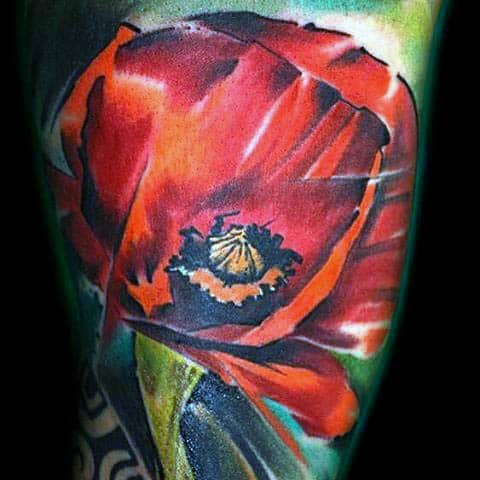 Colorful Creative Poppy Flower Tattoo On Arm