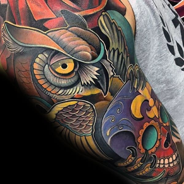 Colorful Day Of The Dead Guys Modern Owl Sleeve Tattoos