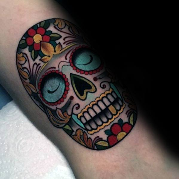 Colorful Day Of The Dead Mens Unique Skull Forearm Tattoos