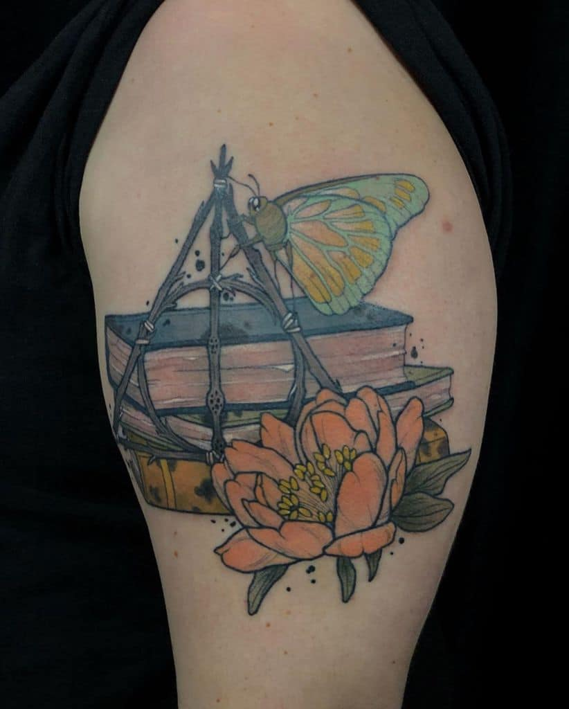 colorful deathly hallows butterfly flowers tattoo