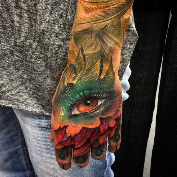 Colorful Design Eye Tattoo Guys Hands