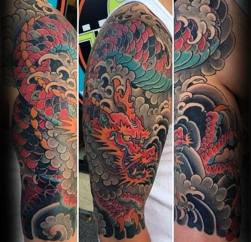 Colorful Dragon With Clouds Half Sleeve Japanese Guys Tattoo Ideas