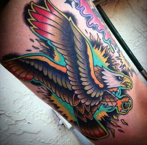 Colorful Eagle Bird Guys Traditional Arm Tattoos