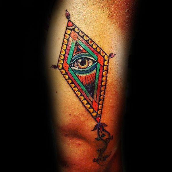 Colorful Eye Kite Tattoos For Gentlemen On Leg