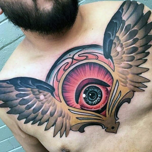 Colorful Eye With Wings Male Chest Tattoos