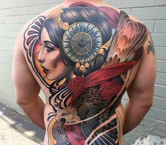 Colorful Female Portrait With Eagle Guys Different Neo Traditional Back Tattoo
