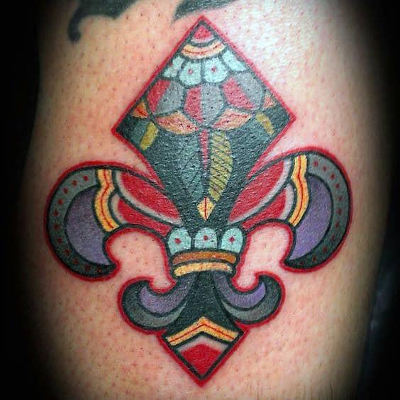 Colorful Fleur De Lis Male Arm Tattoos