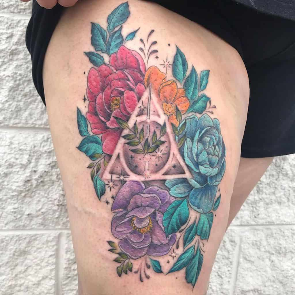 colorful floral deathly hallows tattoo