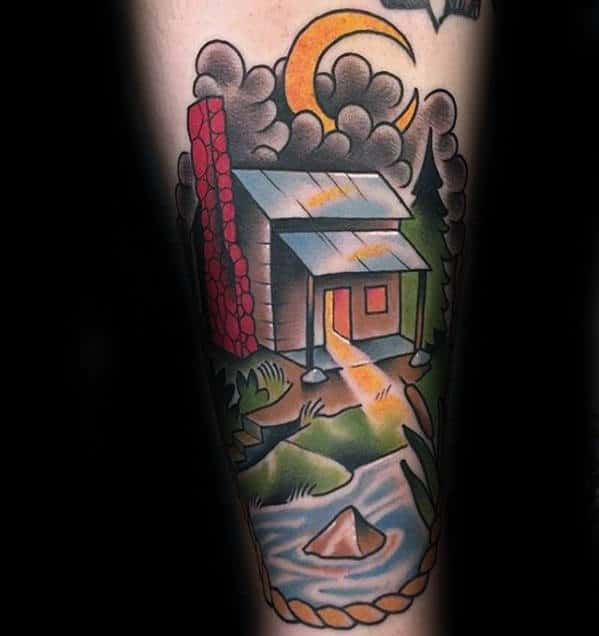 Colorful Forearm Cabin River Tattoo For Guys