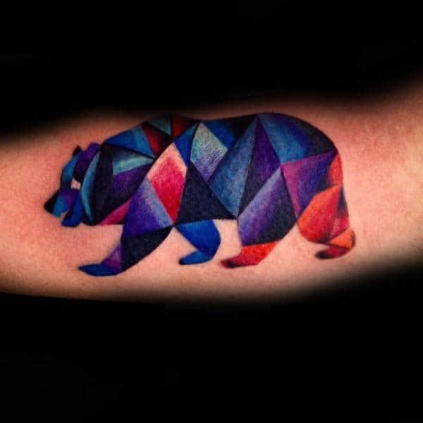 Colorful Geometric Bear Mens Artistic Forearm Tattoos