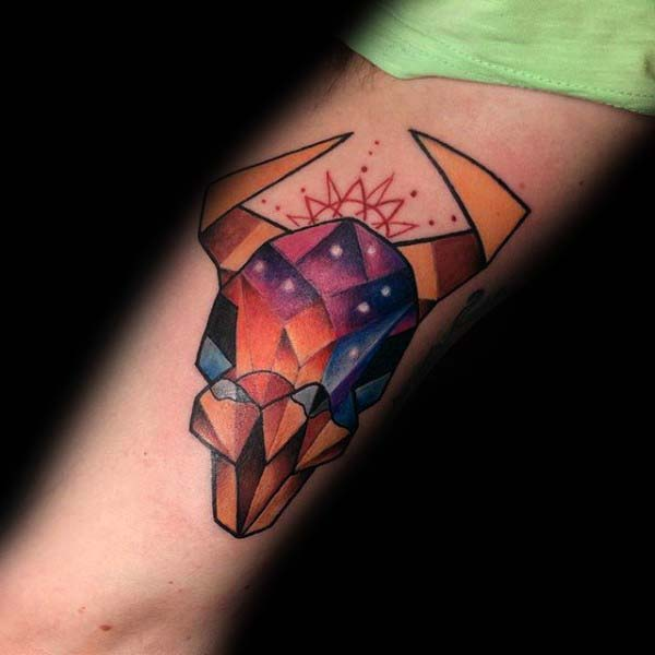 Colorful Geometric Bull Skull Male Forearm Tattoo