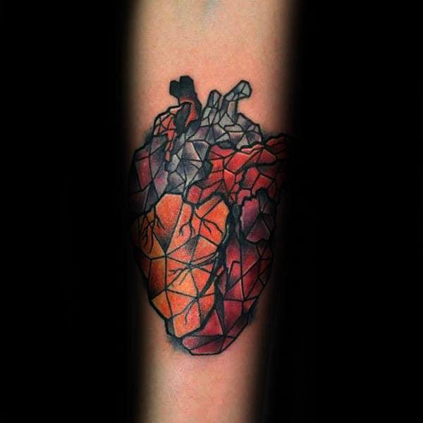 Colorful Geometric Heart Male Tattoo Ideas