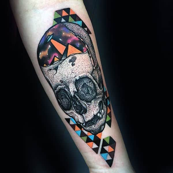 Colorful Geometric Insane Male Inner Forearm Tattoos