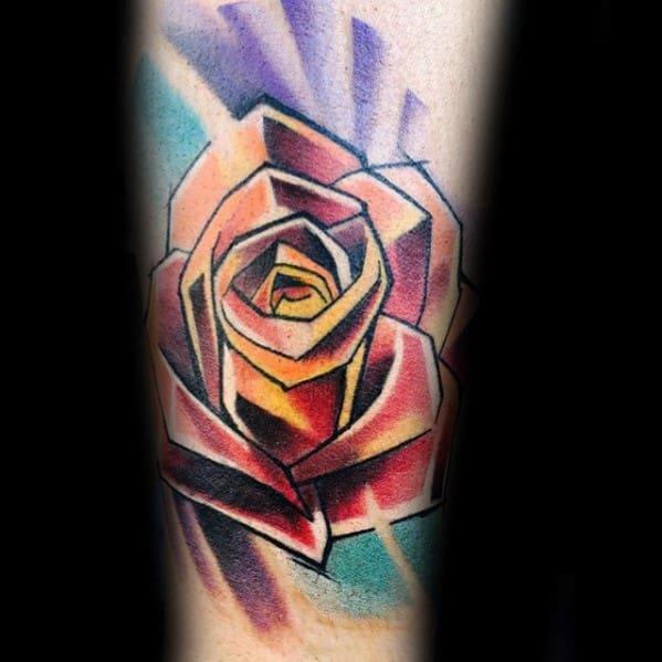 Colorful Geometric Rose Mens Inner Forearm Tattoo