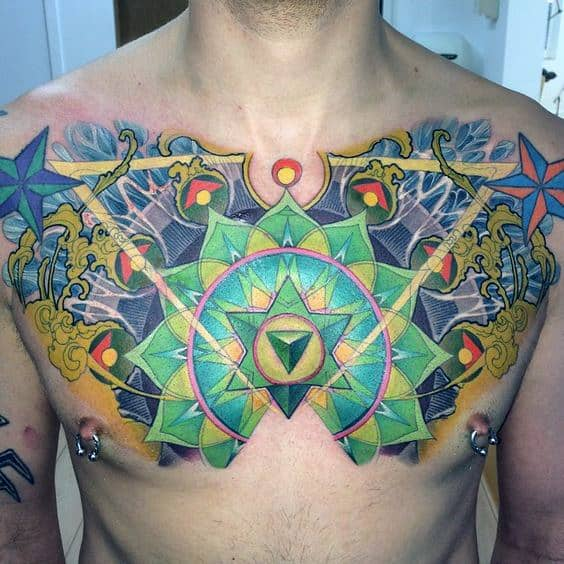 Colorful Geometrical Chakras Tattoo On Mans Upper Chest