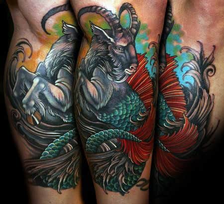 Colorful Goat Capricorn Mens Leg Tattoos