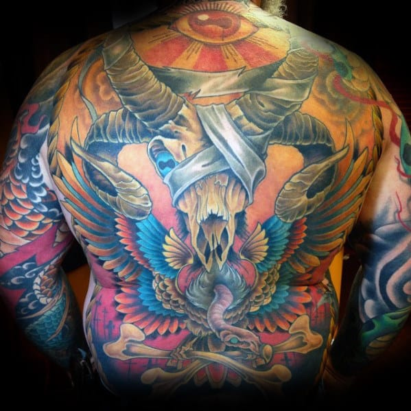 Colorful Goat Skull Male Full Back Tattoos