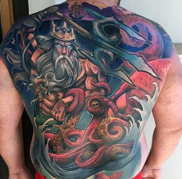 Colorful Greek God Mens Different Back Tattoos