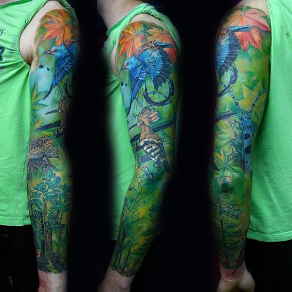 Colorful Green Tree Sleeve Tattoo For Guys