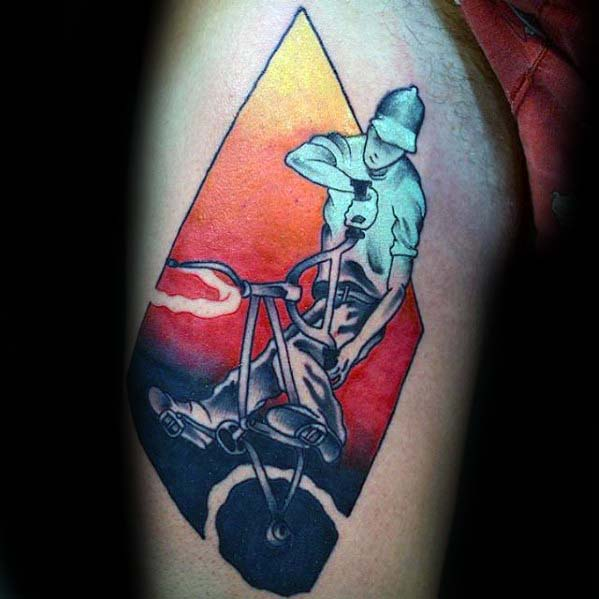 Colorful Guys Bicycle Bmx Rider Thigh Tattoo