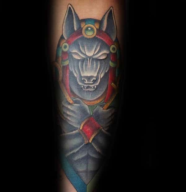 Colorful Guys Forearm Anubis Tattoo Ideas