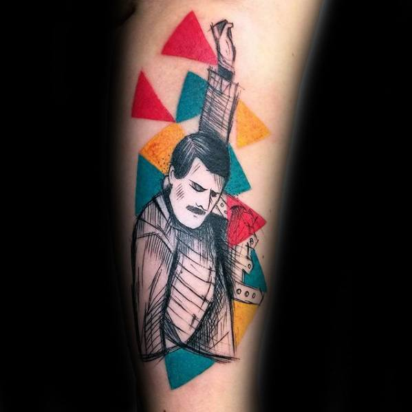 Colorful Guys Freddie Mercury Tattoo Design Ideas