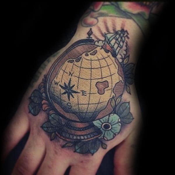 Colorful Guys Globe Hand Tattoos