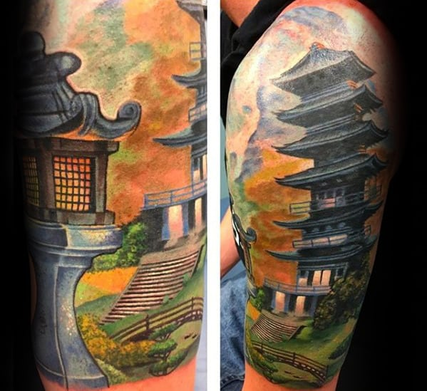 Colorful Guys Japanese Temple Half Sleeve Tattoo Ideas