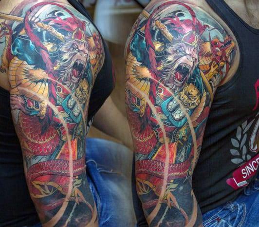 Colorful Guys Monkey King Half Sleeve Tattoo