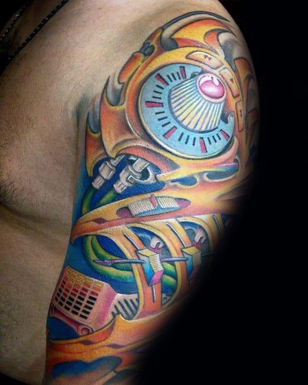 Colorful Guys Music Sleeve Tattoo Ideas