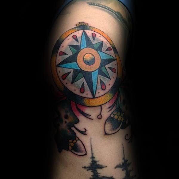 40 traditional compass tattoo designs for men old school