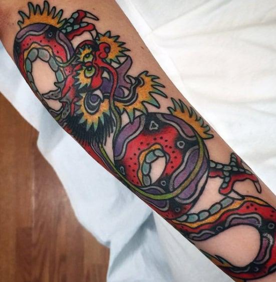 Colorful Guys Traditional Dragon Forearm Tattoo