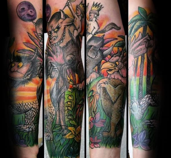Colorful Guys Where The Wild Things Are Forearm Sleeve Tattoo