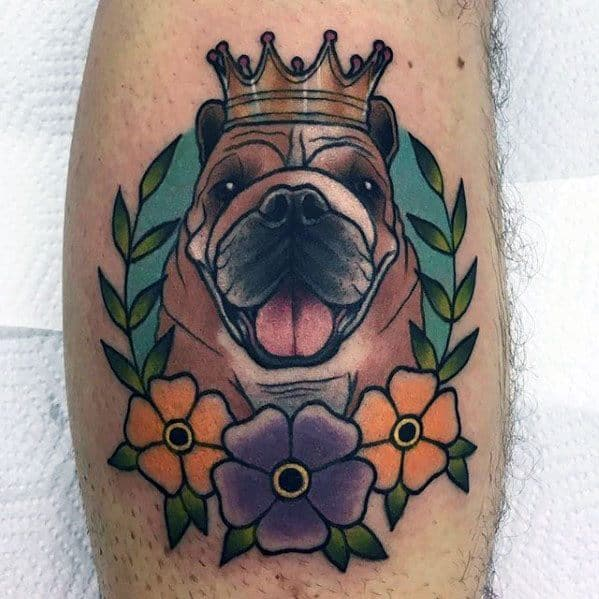 Colorful Happy Bulldog With Flowers Guys Unique Leg Calf Tattoo