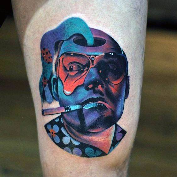 Colorful Hunter S Thompson Tattoo Design On Thigh