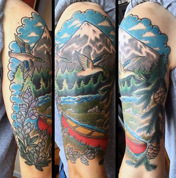 Colorful Illustrative American Traditional Tattoo Of Canoe Mountain And Duck On Mans Arm