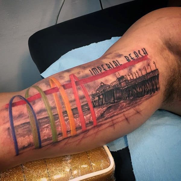 Colorful Imperial Beach Inner Arm Guys Tattoos