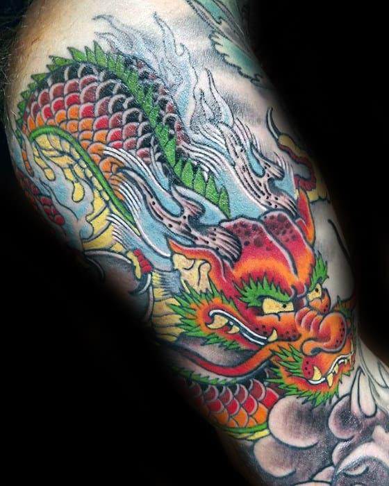 Colorful Inner Arm Guys Dragon Tattoo Ideas