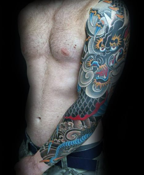 Colorful Japanese Dragon And Cloud Mens Sleeve Tattoo