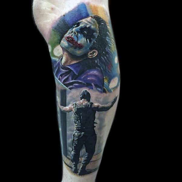 Colorful Joker And Bane Male Lower Leg Sleeve Tattoos