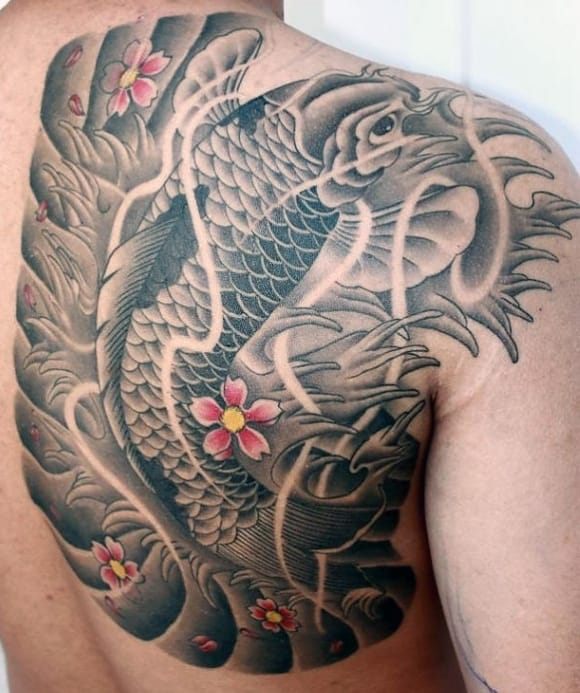 Colorful Koi Fish Men's Tattoos On Back