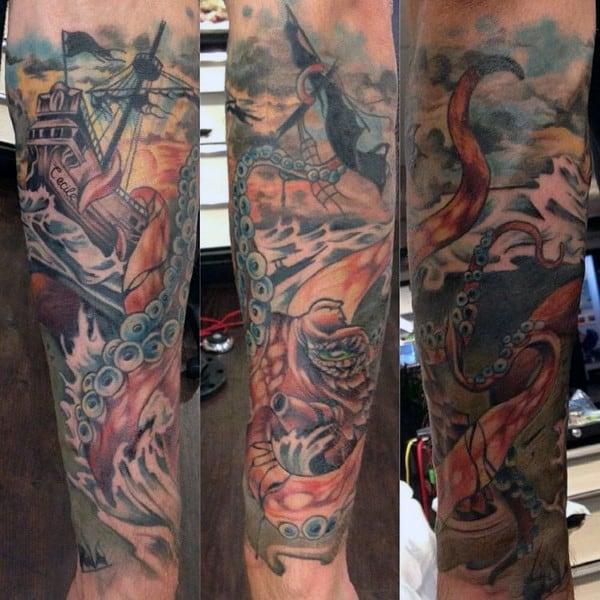 Colorful Kraken Attacking Sailing Ship In Water Tattoos For Men On Forearm