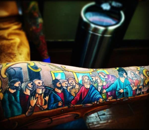Colorful Last Supper Creative Tattoos For Guys