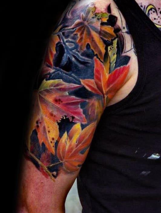 Colorful Leaves Mens Fall Half Sleeve Tattoos