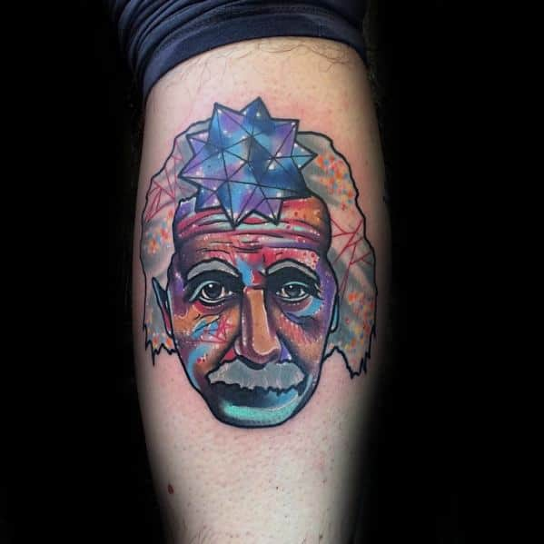 Colorful Leg Calf Albert Einstein Guys Tattoo Designs