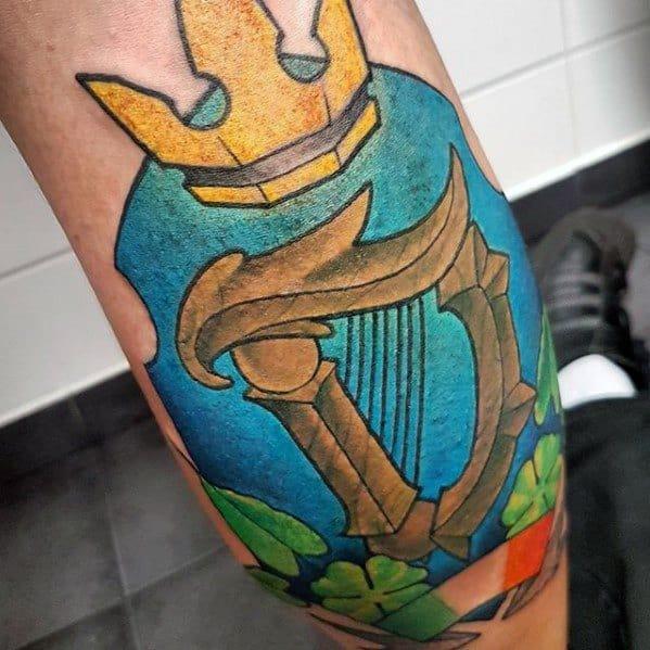 Colorful Leg Calf Distinctive Male Harp Tattoo Designs
