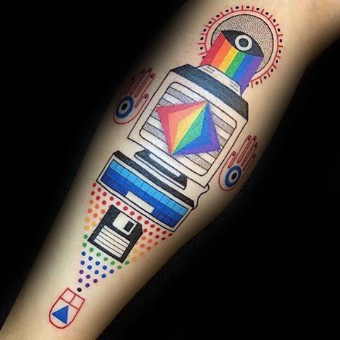 Colorful Leg Mens Computer Tattoo Ideas