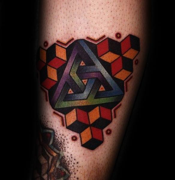 Colorful Leg Penrose Triangle Tattoo On Men