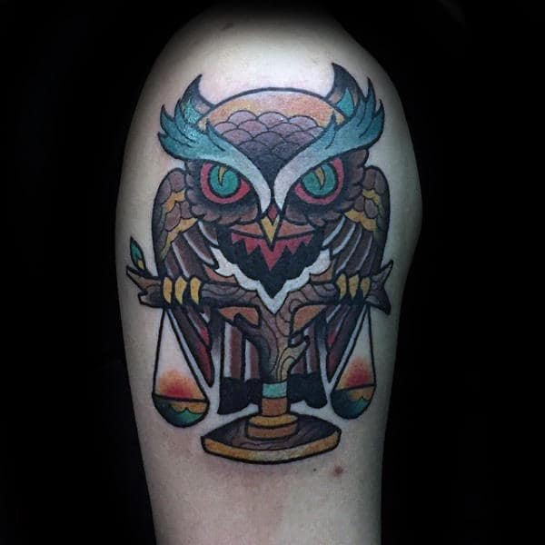 Colorful Libra With Owl Mens Upper Arm Tattoos