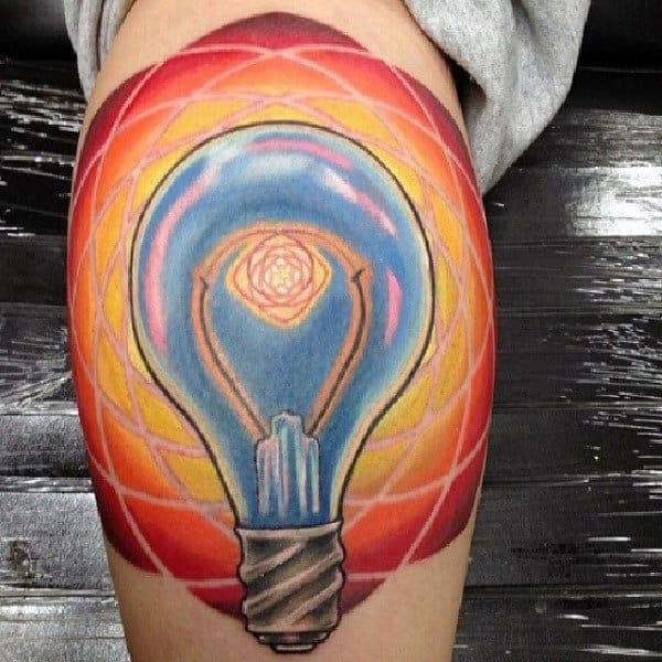 Colorful Light Bulb Atom Mens Leg Calf